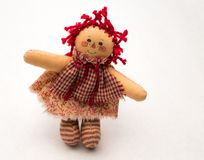 Homespun Red Checkered Raggedy Ann Doll. On a white background Stock Images