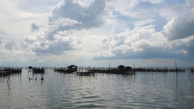 Homestay and floating basket in lake at Kohyo, Songkhla, Thailand with beautiful sky and clouds. This is traditional fisheries are Stock Images