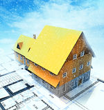 Homestead building with layout plan at winter snowfall Stock Photography