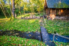 homestead in countryside, fall nature stock images