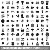 100 homestead farming icons set, simple style. 100 homestead farming icons set in simple style for any design vector illustration stock illustration