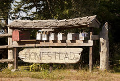 Homestead Mailboxes. A cluster of mailboxes on a rural postal route. The Homestead sign carved into driftwood provides a touch of country stock images