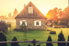 Homestead. Old homestead at countryside in Lithuania Kernave. Sunrise time royalty free stock photos