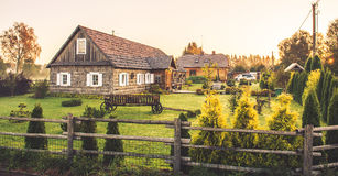 Homestead. Old homestead at countryside in Lithuania Kernave. Sunrise time stock photography