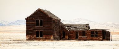 Homestead Ruins in Montana. Winter view of an old ruined homestead on the plains of Radersburg, MT Stock Photo