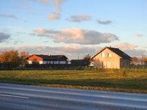 Homestead and wet way in morning time, Lithuania stock images