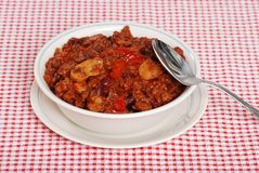 Homestyle chili with a spoon Royalty Free Stock Photo