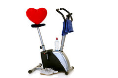 Hometrainer. Home-trainer for workout, isolated on white background, reflective surface Royalty Free Stock Photography