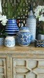 Homewares bleus et blancs Photo libre de droits