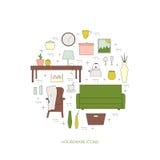 Homewares line icon set. Houseware vector elements. Homewares line icon set. Interior design round concept stock illustration