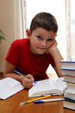Homework. 8 years old child reading book and doing his homework Stock Photos