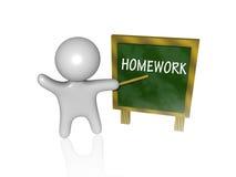 Homework 3d. An d teacher showing homework on his board Stock Photos