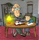 Homework. This illustration that I created depicts a man doing homework with a small boy Stock Photos