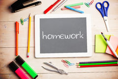 Homework against grey Stock Photography