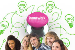Homework against pink push button Royalty Free Stock Photo