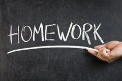 Homework Blackboard Hand Chalk Stock Photography