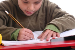 Homework boy Royalty Free Stock Image