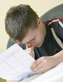 Homework boy Stock Photo