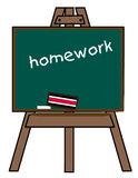 Homework on chalkboard Royalty Free Stock Image