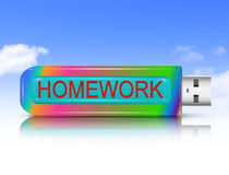 Homework concept. Illustration depicting a usb flash drive with a homework concept Stock Photos