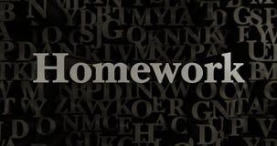 Homework - 3D rendered metallic typeset headline illustration Royalty Free Stock Image