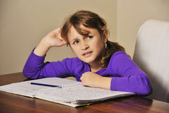 Homework girl Stock Photo