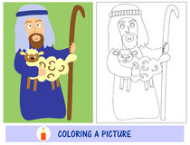 Homework for kids how to paint a shepherd with lamb. Sunday school. Stock Photo