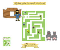 Homework for kids. Maze to Help Noah gather animals into the ark. Genesis - flood. Royalty Free Stock Image