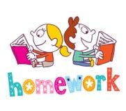 Homework - kids reading books Royalty Free Stock Image