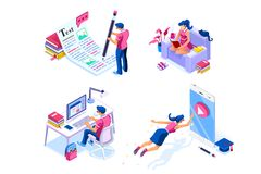 Isometric Homework Knowledge Icons for Web Page royalty free illustration