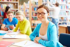 Homework in library Royalty Free Stock Photography