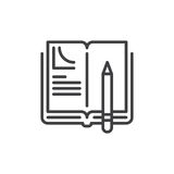 Homework line icon. Outline vector sign, linear style pictogram isolated on white. Book and pen symbol, logo illustration. Editable stroke. Pixel perfect Stock Photo