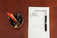 Homework list Stock Images