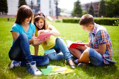 Homework outdoors Stock Photos