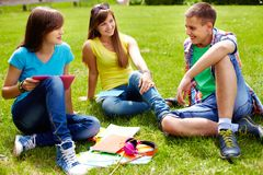 Homework outdoors Royalty Free Stock Photography
