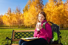 Homework outside in the park Stock Images