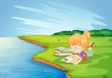 Homework in the park royalty free illustration