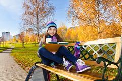 Homework in the park Stock Images