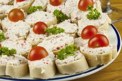 Homework quick meals, canapes with butter and vegetables Stock Images