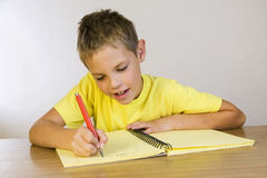 Homework: schoolboy writing Royalty Free Stock Photo