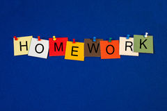 Homework - sign series for education terms. Homework - sign series for education terms & teachers stock image