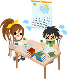 The homework of summer vacation stock illustration