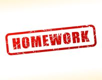 Homework text buffered. Illustration of homework text buffered on white background Stock Photos