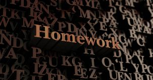 Homework - Wooden 3D rendered letters/message Royalty Free Stock Images