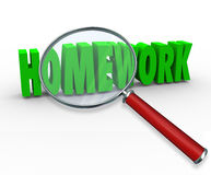 Free Homework Word Magnifying Glass Project Lesson Assignment Royalty Free Stock Photography - 41108367