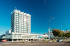 Homiel', Bielorussia Alta costruzione sulla via del viale di Lenin in Unione Sovietica soleggiata Immagini Stock