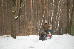 HOMIEL', BIELORUSSIA - 15 GENNAIO 2017: Divertimento di inverno Gatto delle nevi sledging di caccia della famiglia Immagini Stock Libere da Diritti