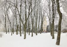 HOMIEL', BIELORUSSIA - 23 GENNAIO 2018: Peter e Paul Cathedral nella città parcheggiano nel gelo ghiacciato Immagine Stock