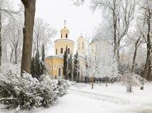 HOMIEL', BIELORUSSIA - 23 GENNAIO 2018: Peter e Paul Cathedral nella città parcheggiano nel gelo ghiacciato Fotografie Stock