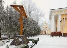 HOMIEL', BIELORUSSIA - 23 GENNAIO 2018: Peter e Paul Cathedral nella città parcheggiano nel gelo ghiacciato Immagine Stock Libera da Diritti